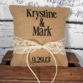 Ring pillow - Burlap & lace rustic wedding ring bearer pillow personalized with names and date - Lots of lace color choices!