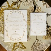 Invites like The Flourish Charm have an elegant and formal charm your loved ones will adore! Customize the fonts and colors to match your wedding theme.