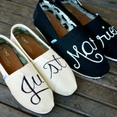 Custom Hand Painted Just Married Toms shoes