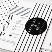 Polka dots and stripes invitation for modern wedding – Kendall