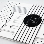 Modern Polka Dots and Stripes Black and white contemporary Wedding Invitation