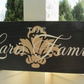 Family sign with name, established date and damask fleurish - personalized - custom wood sign in colors of your choice