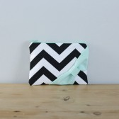 Black Chevron + Mint Bow
