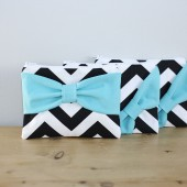 Black Chevron + Peach Bow