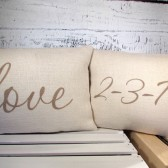 Personalized date and love burlap pillow cover set - special day, off white burlap handpainted in taupe