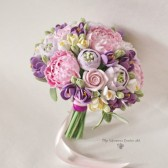pink purple bouquet, keepsake bouquet, alternative bouquet, peony bouquet, clay flowers bouquet