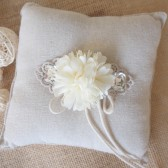 Wedding Ring Bearer Pillow, Rustic, Lace Wedding Pillow, Rhinestone, Cotton Muslin, Flower