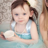 Aqua Tulle flower girl dress