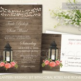 Lantern wedding invitations. Rustic iron lantern wedding invitations with coral accents and rsvp card. The rustic lantern wedding invitation is 5x7 and has a woodgrain background with string lights along the top and a rustic iron lantern with an arrangement of coral peonies and roses.