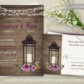Lantern wedding invitations. Rustic country wedding invitations and rsvp card. The rustic lantern wedding invitation is 5x7 and has a barn wood background with a bouquet of wildflowers in tones of wine, purple, cranberry and burgundy. The barn wedding set is completed with string lights along the top and a rustic iron lantern. Great for barn weddings, bohemian weddings, country chic weddings and so much more.