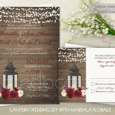 LanternWedding Invitations with Marsala and Magenta Florals