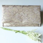 Petite Amelia Clutch - Latte Lace and Butter Gold Satin Clutch
