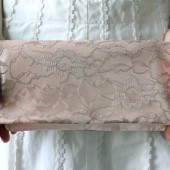 Blush Satin and Latte Lace Clutch