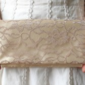 Latte Lace and Butter Satin Clutch