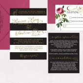 Metallic Gold Foil Invitations Modern Rose Black White Stripe