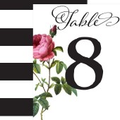 Modern Stripes & Floral Rose Table Numbers