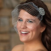 Lauren - Haute Couture birdcage veil adorned with large rhinestone accent