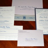 Navy Blue and Lavendar Wedding Invitation