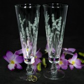Lavender Themed Wedding, Fluted Pilsner Toast Flutes