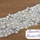 Leighton Bridal Sash - SparkleSM Bridal Sashes