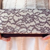 Eggplant Lace and Ivory Satin Lena Clutch