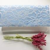 Lena Clutch in Cornflower Blue and Ivory