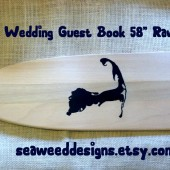 "Island 58"" Personalized Unfinished Paddle Wedding Guest Book (1) Bride and Groom Names Wedding Date and Island Silhouette Lake Oars"