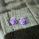 Lilac Rose . Post Earrings
