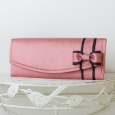 Wedding Envelope Clutch - Lipstick Pink Dupioni Silk with Bow