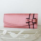 Lipstick Pink Dupioni Silk Wedding Clutch with Bow