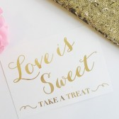 Love is Sweet Gold Foil Whimsical Wedding Sign