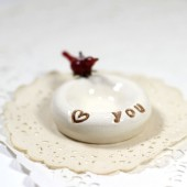 Love you cardinal red bird ring bowl, pill holder or trinket bowl