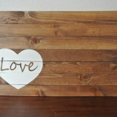 Heart with Love Hand Painted Wood Sign Guest Book