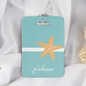 Beach Luggage Tag - Honeymoon Luggage Tag - Wedding Gift - Beach Wedding - Starfish Luggage Tag - Sea Shell - Vacation - Beach Bag Tag