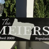 Custom family sign with your state map, family name, population and established date - custom wood sign in colors of your choice