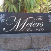 Personalized family sign with family last name, est. date and damask designs - personalized - custom wood sign in colors of your choice