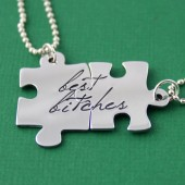Best Bitches Puzzle Piece Necklace Set