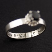 "Nightmare Before Christmas ""Simply Meant to Be"" Black CZ Engagement Ring"