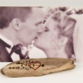 Driftwood Bling Photo Holder, Wedding Gift, Wedding Decor, Personalized Photo Holder, Hearts w/ Initials, Anniversary Gift, Driftwood Decor