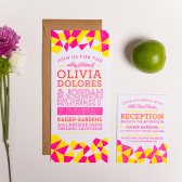 Neon Geometric Letterpress Wedding Invitations
