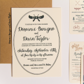Summer Camp Letterpress Wedding Invitation Set