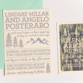 Rustic Mountain Letterpress Wedding Invitation