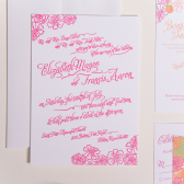 Peach Floral Letterpress Wedding Invitation