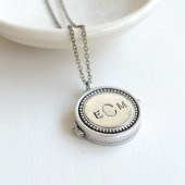 MONOGRAM ANTIQUED SILVER LOCKET