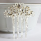Mother of Pearl Rhistones Hair Comb