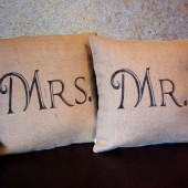 Mr & Mrs pillow set of three with Fleur de Lis