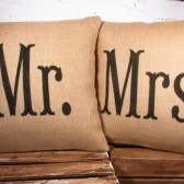 Burlap Mr and Mrs pillow covers (16X16) handpainted in black or color of your choice