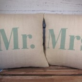 Mr & Mrs pillow set in sea foam green