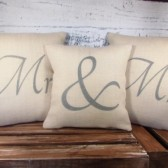Mr Mrs Burlap pillow covers - metallic silver lettering