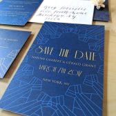 art deco, blue and gold, blue, gold, vintage, gatsby wedding save the date, art deco save the date, blue save the date, blue and gold save the date, vintage save the date
